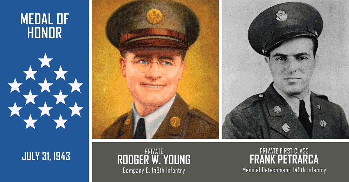Rodger Young and Pfc. Frank Petrarca portraits
