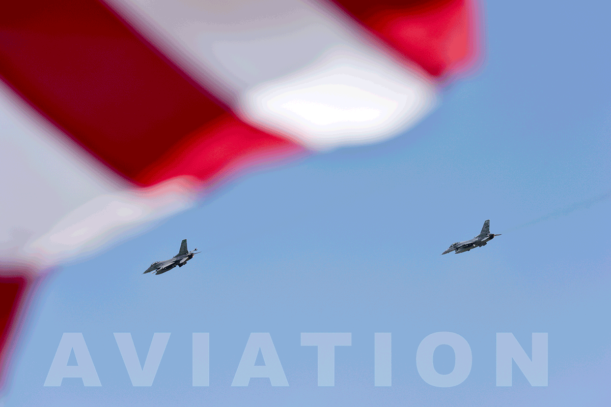 Two F16s flying with American flag in foreground reads AVIATION.