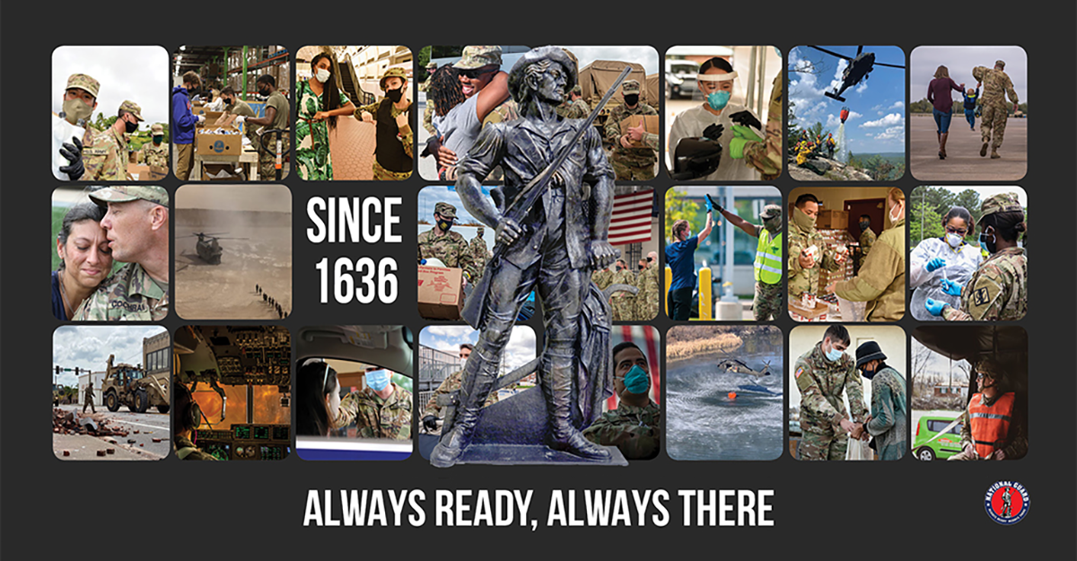 Collage of Soldiers and Airmen with minute man statue in center saying since 1636- Always ready, always there.