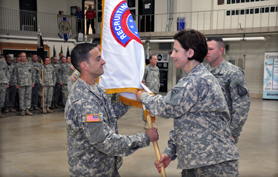 Lt. Col. Lenny Bornino (left), incoming commander of the Ohio Army National Guard Recruiting and Retention Battalion