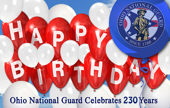 Illustration of balloons spelling out Happy Birthday - Ohio National Guard Celebrates 230 years.