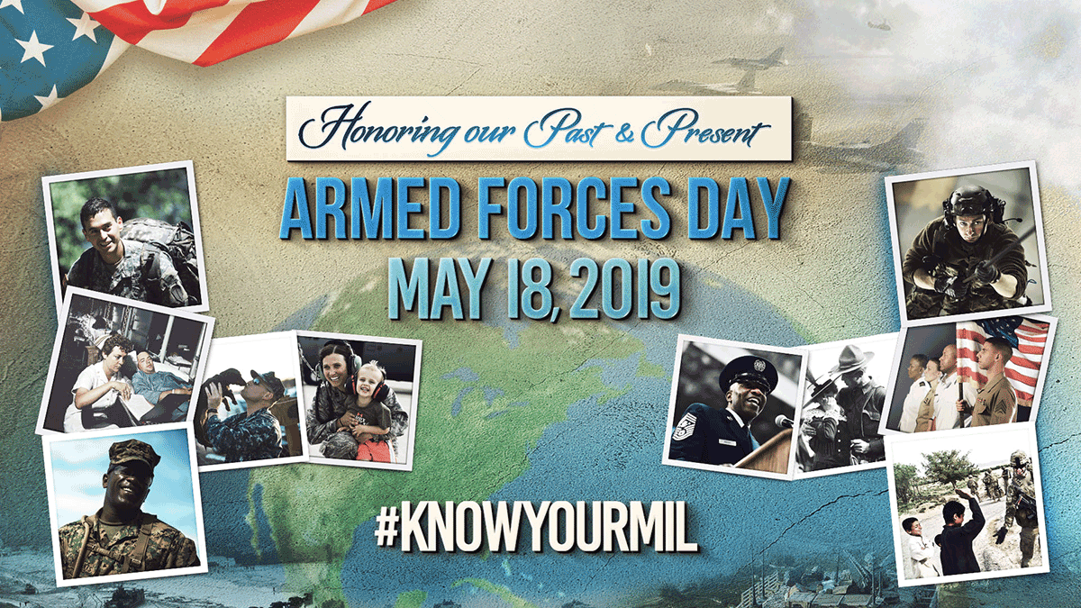 Collage of service members. Reads: Honoring our Past and Present. Armed Forces Day, May 18, 2019 ~ #KNOWYOURMIL