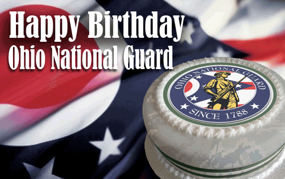 birthday cake with logo on Ohio flag background - reads Happy Birthday Ohio National Guard