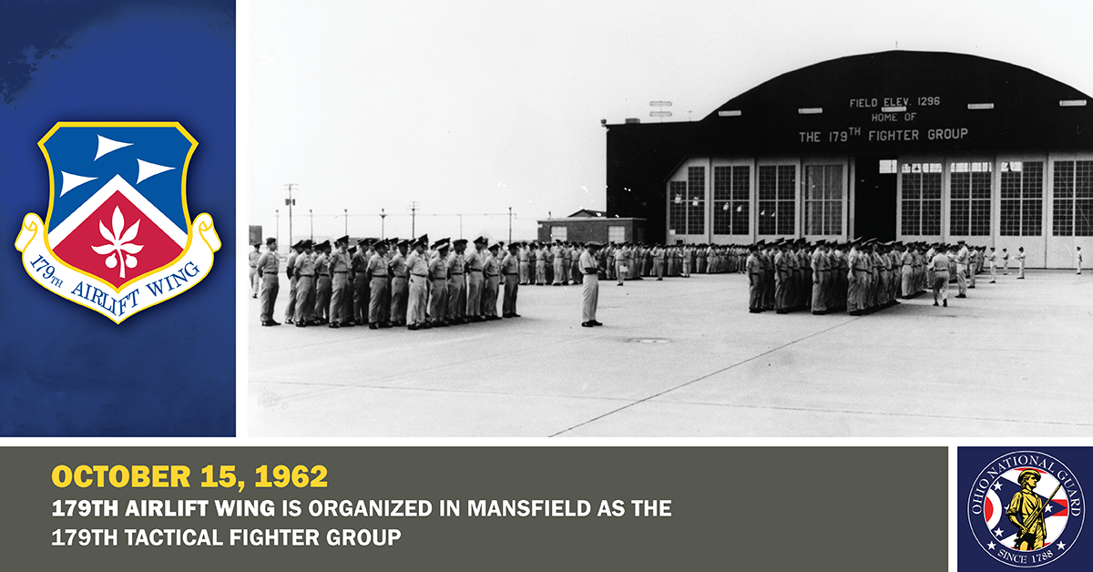 Personnel from the 179th Tactical Fighter Group stand in formation outside of their hangar.