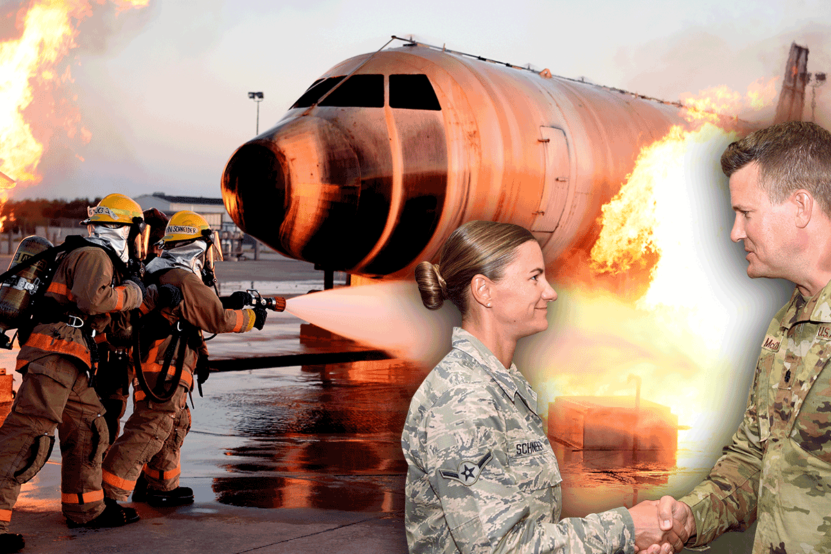 firefighters spraying plane on fire on tarmac, withsuper-imposed image of Schneider shaking hands with Airman.