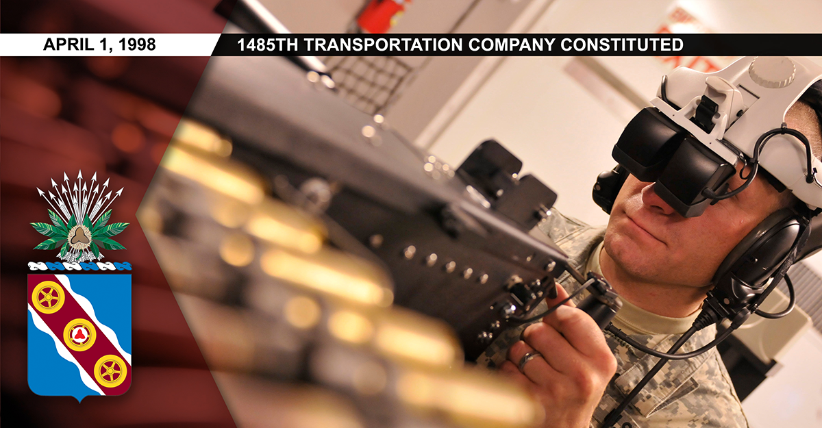 Soldier readies to man the gunner position in the Virtual Convoy Operations Trainer.