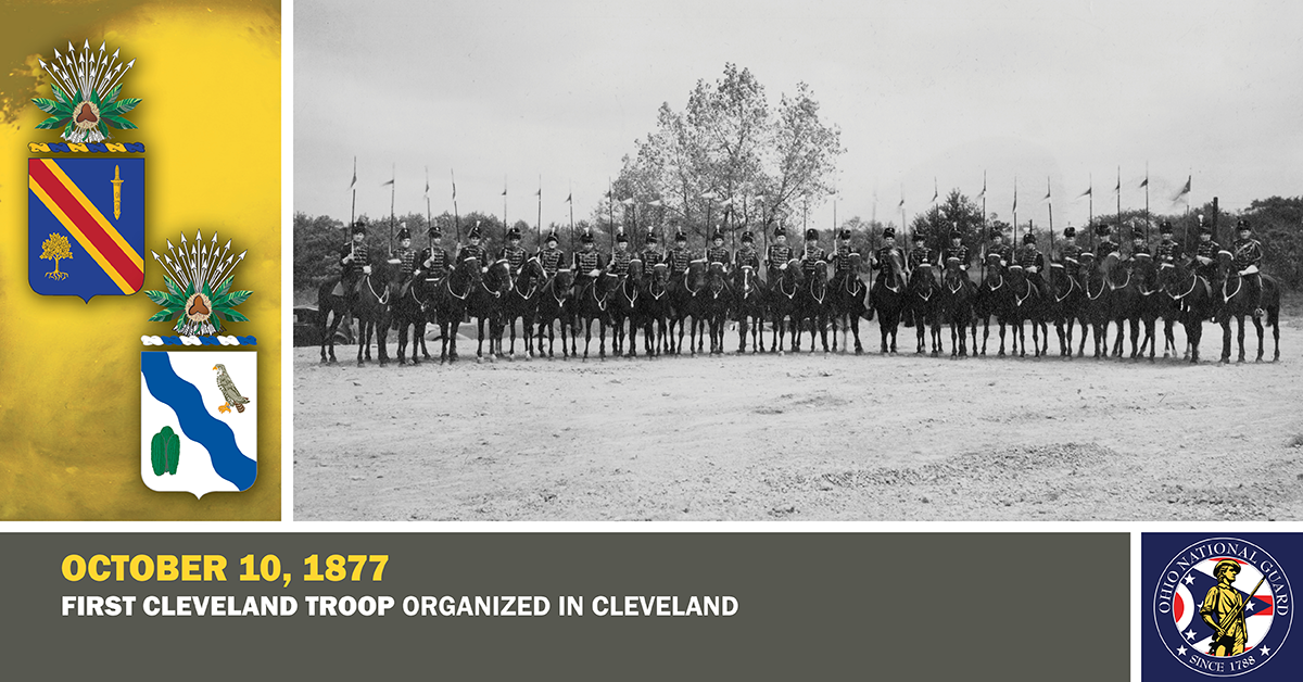 1935 photo, members of Troop A, 107th Cavalry are shown in their ceremonial Hussar uniforms and mounted on black horses.