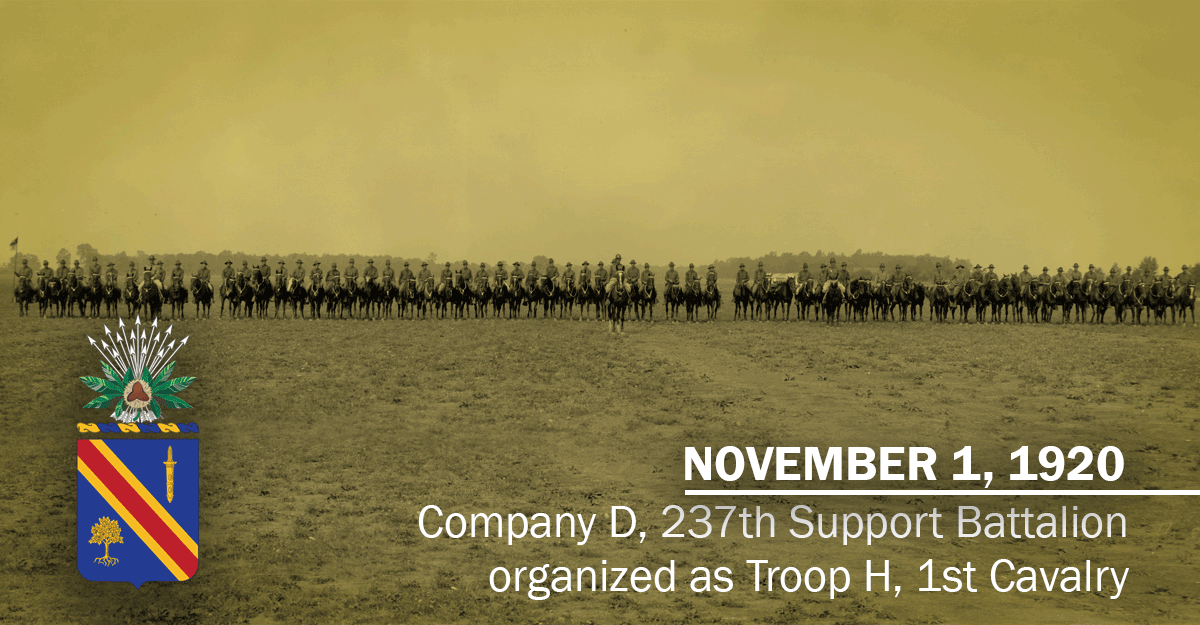 Graphic with image of 50 or so Soldiers lined up in row on horses in field and insignia super-imposed.