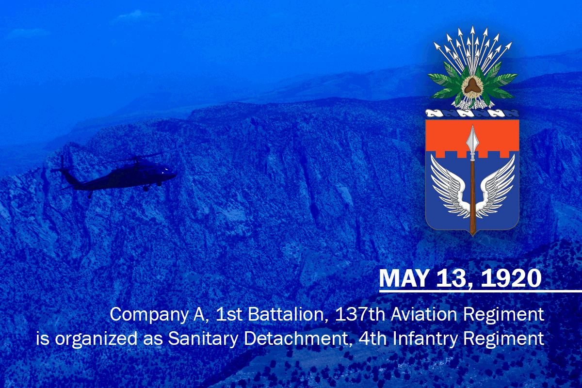 Graphic of black hawk flying over mountains with crest and organized date.