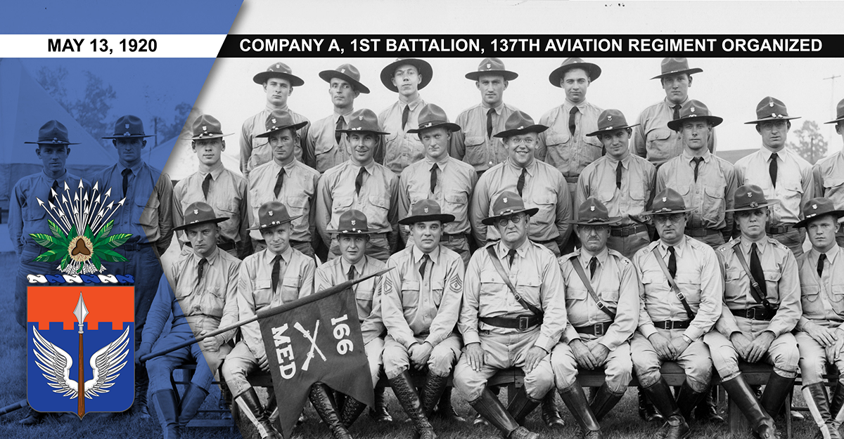 1937 photo, Medical Detachment, 166th Infantry poses for a unit photo.