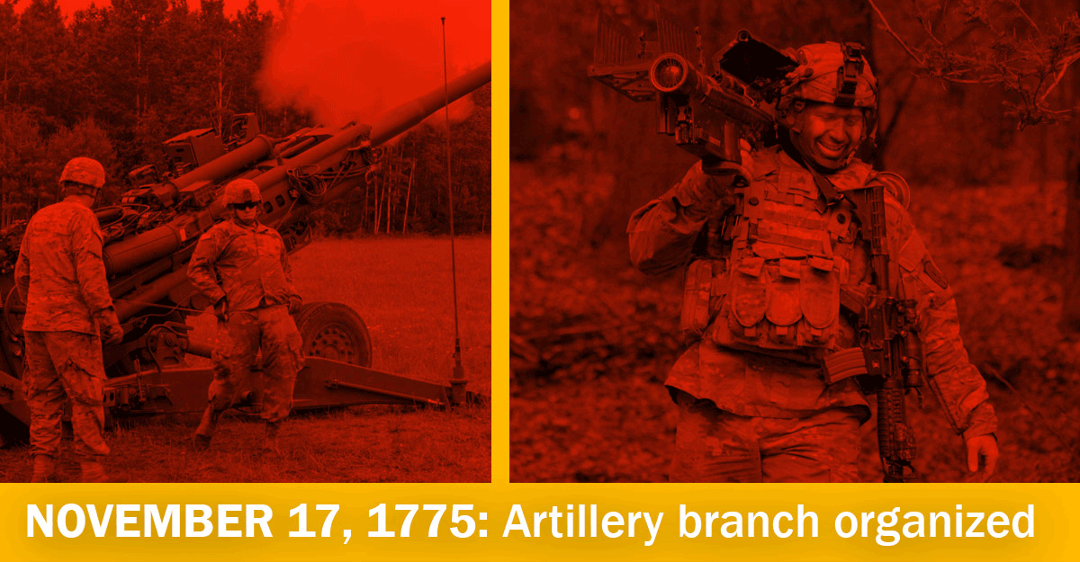 split image of soldiers firing artillery and soldier carrying launcher.