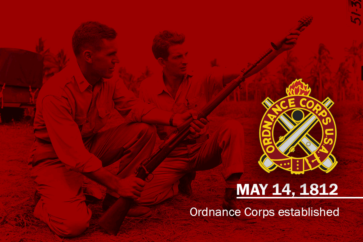 Graphic of soldiers kneeling to load rifle logo and with established date.