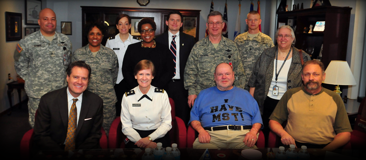 Ohio National Guard leaders, including Maj. Gen. Deborah A. Ashenhurst (front row, second from left), Ohio adjutant general, meet with U.S. Rep. Michael Turner (front row, left), of Ohio's 10th Congressional District, and Hank Downs (front row, third from left), prior to a Sexual Assault Awareness Month program April 9, 2013.