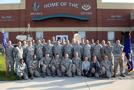 251st group shout outside building