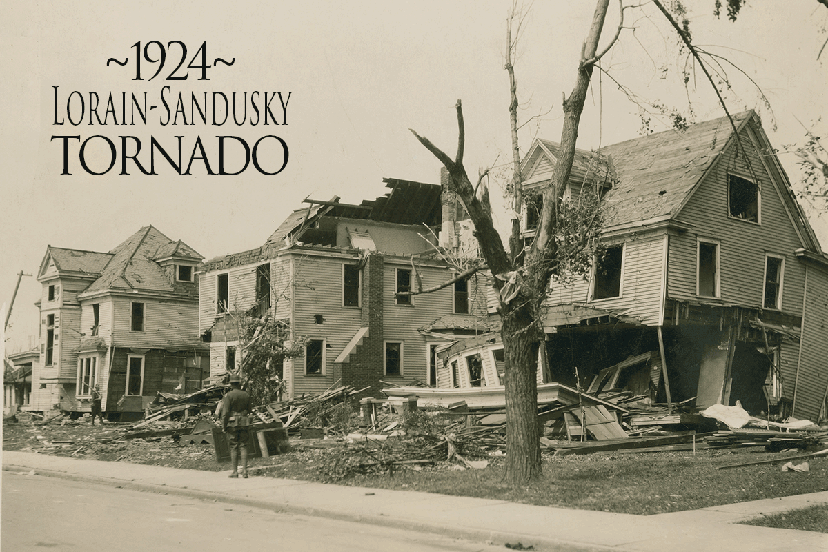 Damages houses from tornado in black and white.