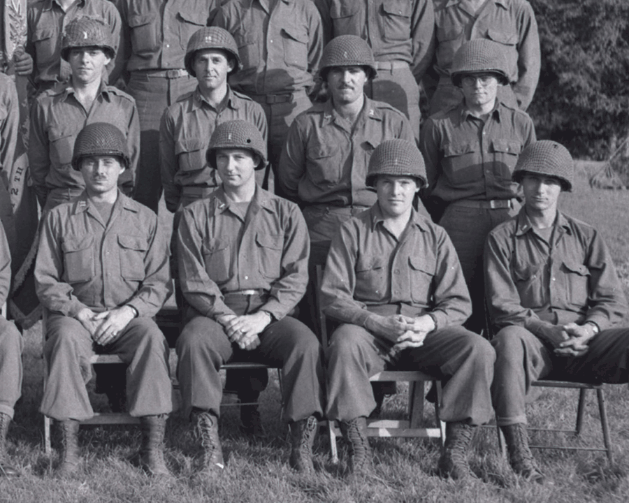 Black and white photo of officers in rows.