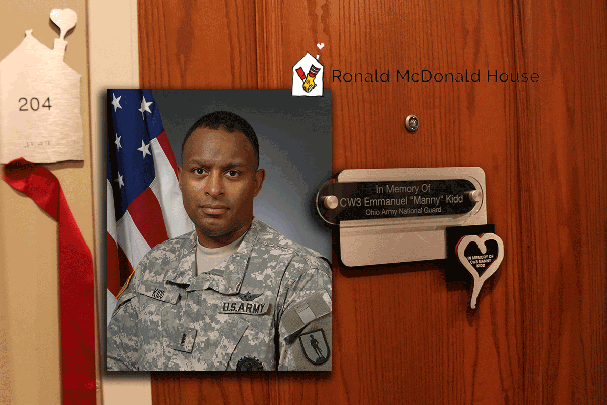 Collage of door to room 204 with dedication plaque and photo of Chief Warrant Officer 3 Emmanuel Kidd and Ronald McDonald House logo..