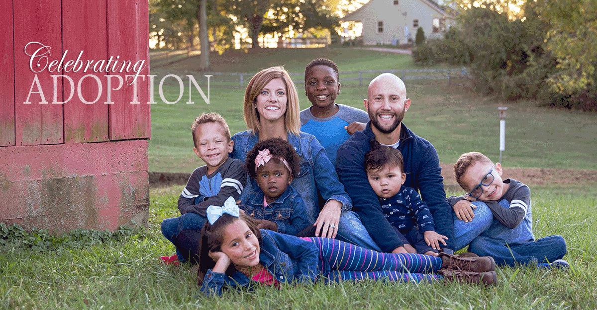 Staff Sgt. Ken Keller with wife and 6 adopted children sit for photos on farm.