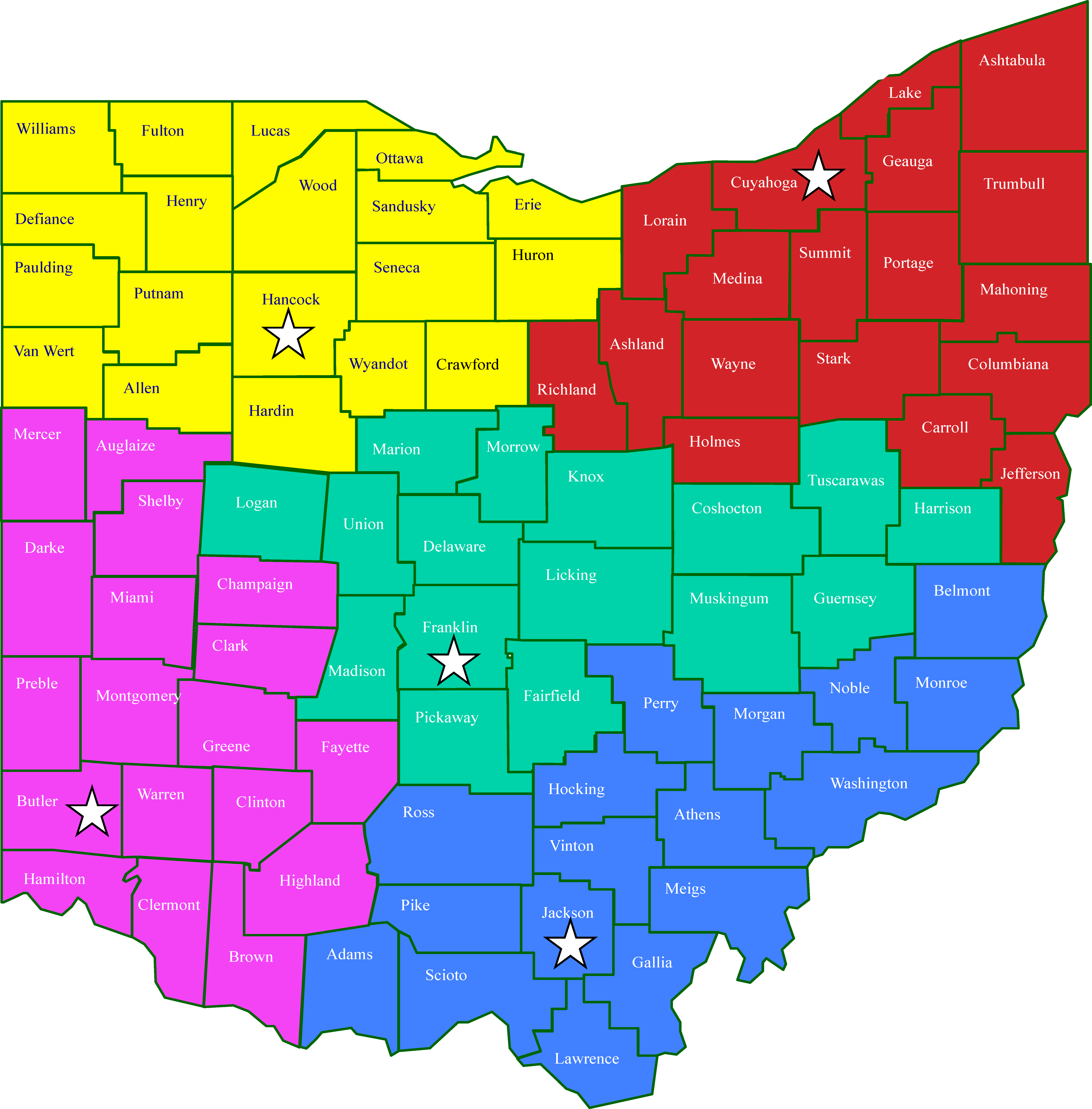 Ohio map depicting 5 regions