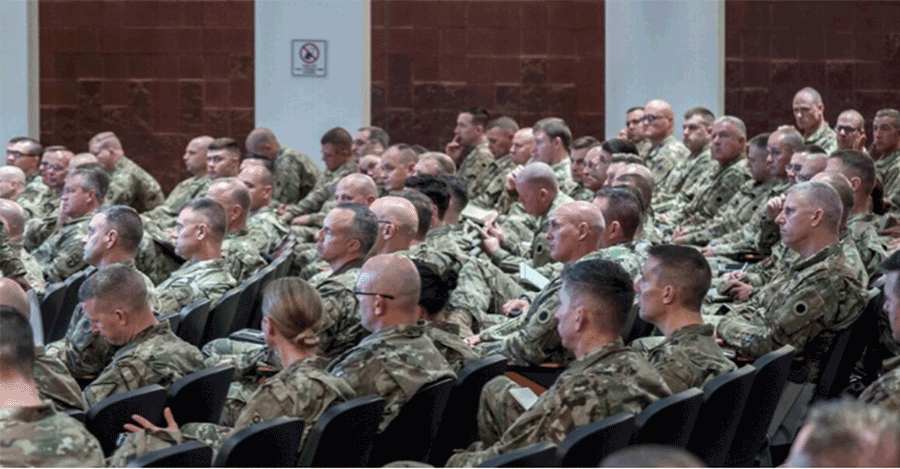 Soldiers in auditorium