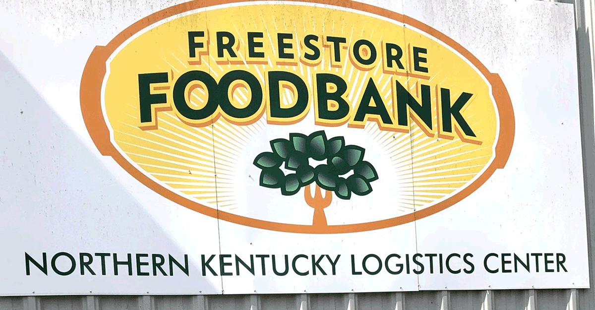 Freestore FOODBANK sign.