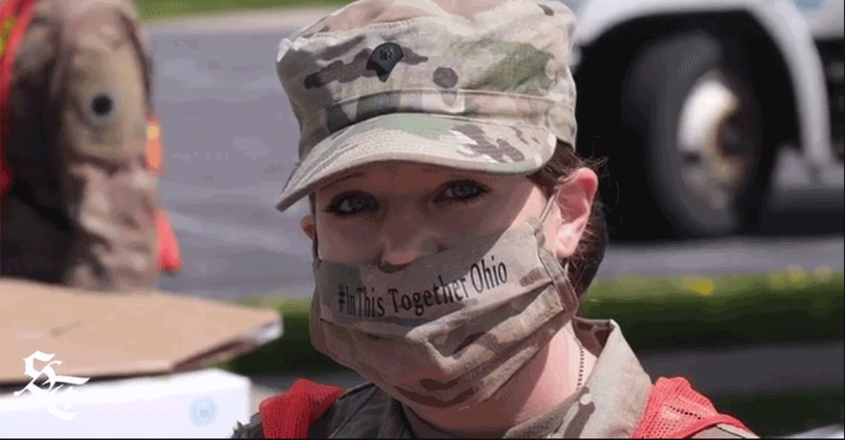 Female Soldier ewaring mask that says#InThisTogetherOhio