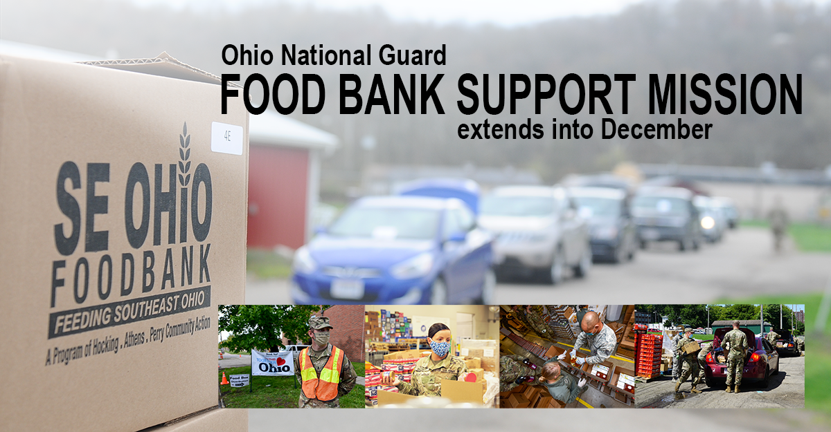 Collage of Soldiers nad Airmen working at food banks.