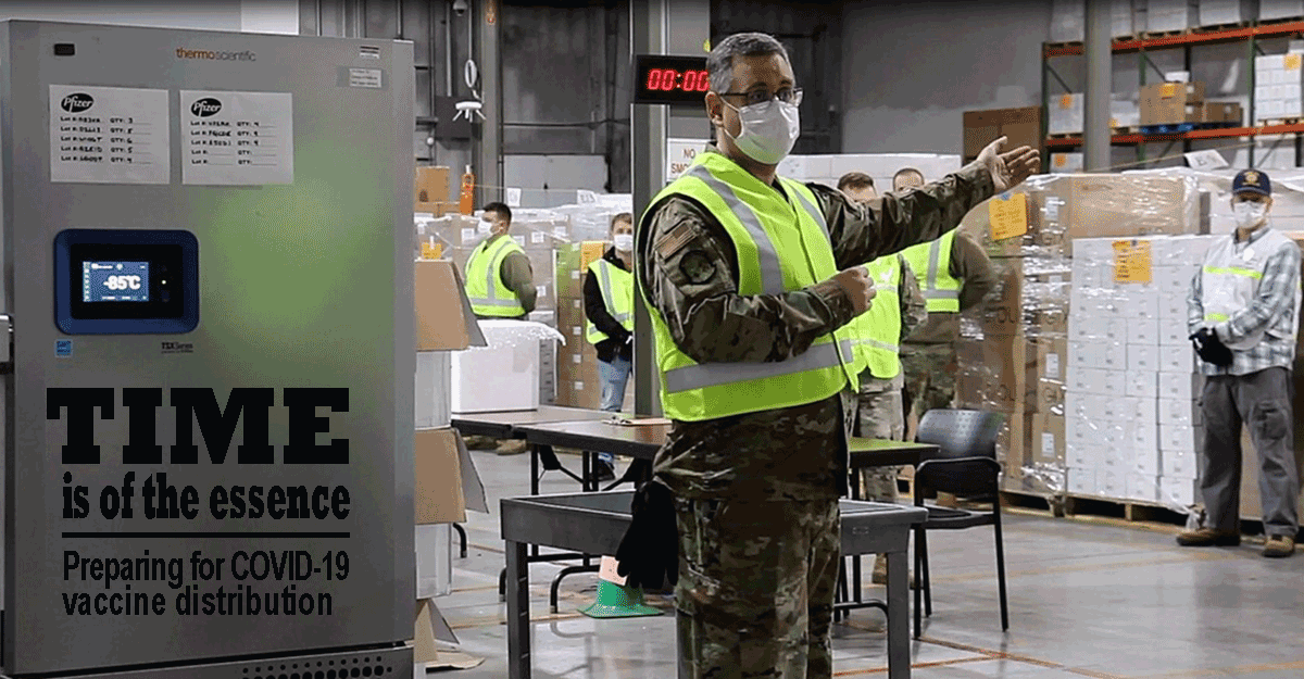 Ohio Air National Guard Senior Master Sgt. Gregory Sprowls explains the process of receiving and repacking COVID-19 vaccines. Sprowls, an air transportation specialist with the 121st Air Refueling Wing in Columbus, Ohio, said his military skills have helped in working with partners from the Ohio Department of Health to develop the logistics plan for the vaccines that the state will soon have at its Receive, Store and Stage warehouse.
