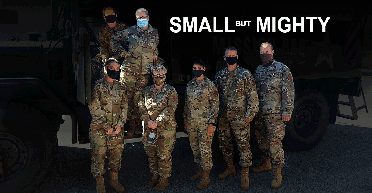 Airmen poose with masks