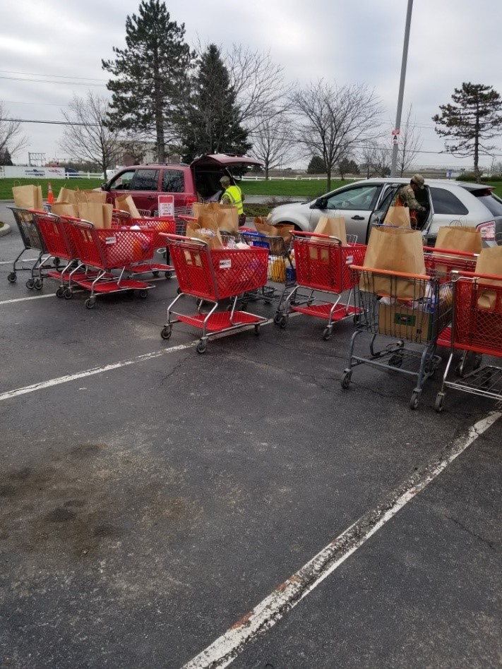 Soldiers pass out groceries from lined up grocery carts in parking lot.