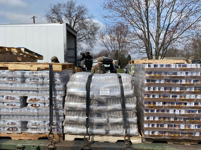 Pallets of canned goods.