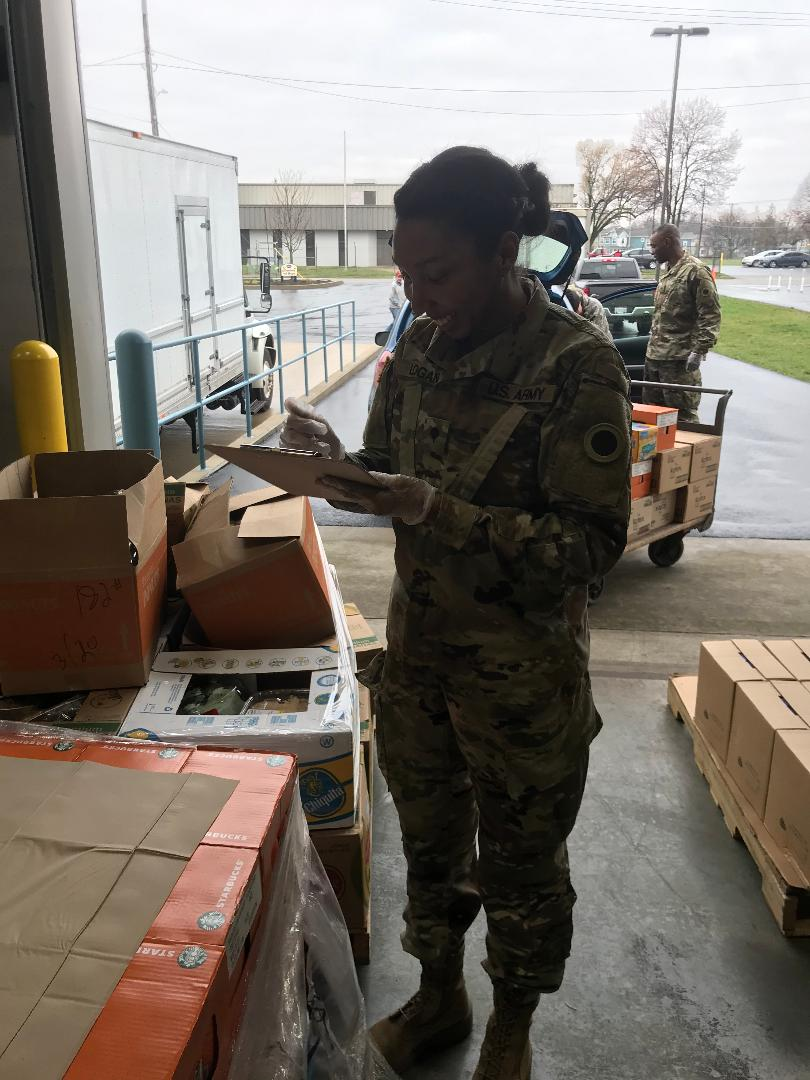 Soldier checks delivery.